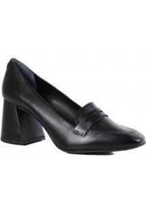 Sapato Jorge Bischoff Scarpin Loafer Salto Grosso Bico Quadrado Couro