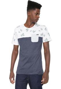 Camiseta Rusty Palm Leaf Branca/Azul-Marinho