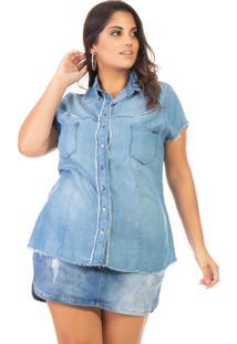 Camisa Jeans Feminina Manga Curta Plus Size - Kanui