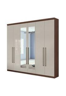 Guarda Roupa Casal C/ Espelho 6 Portas 4 Gavetas Alonzo New Móveis Lopas Bege