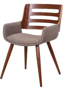 Cadeira Lica Linho Marrom Mesclado Estrutura Castanho 77Cm - 62872 - Sun House