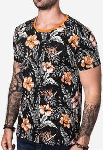 Camiseta Orange Foliage Masculina - Masculino-Preto