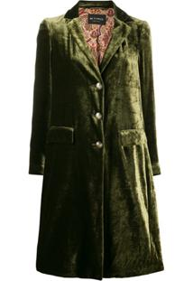Etro Velvet Single Breasted Coat - Verde