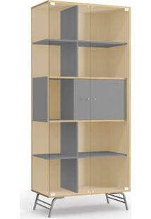 Cristaleira Kappesberg Pop Po601-P1 2 Portas Em Vidro Pine/Cinza Se