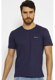 Camiseta Com Bordado- Azul Marinho & Azul- Wranglerwrangler