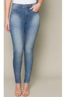 Calça Jeans Com Elastano Segunda Pele Azul