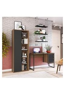 Mesa Escrivaninha 3 Gavetas + Livreiro Office Trevalla Cf-002 Grafite E Mel