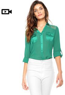 Camisa Manga Longa Aishty Bolsos Verde