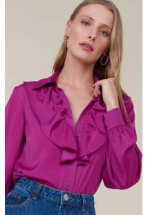 Amaro Feminino Camisa Manga Longa Babado Frente, Roxo