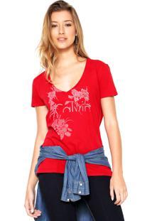 Camiseta Calvin Klein Jeans Flowers Vermelha