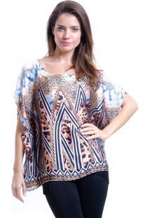 Blusa 101 Resort Wear Poncho Crepe Estampada Skarf Marrom