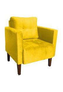 Poltrona Decorativa Lívia Para Sala E Recepçáo Suede Amarelo - D'Rossi