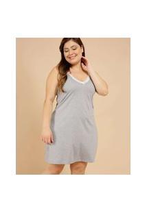 Camisola Plus Size Feminina Poá Alças Finas