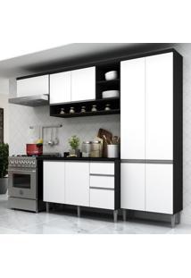 Cozinha Completa Compacta Com Armã¡Rio E Balcã£O Com Tampo Hollywood Multimã³Veis Preto/Branco - Incolor/Preto - Dafiti