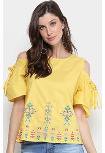 Blusa Open Shoulder Lily Fashion Com Bordado Feminina - Feminino-Amarelo