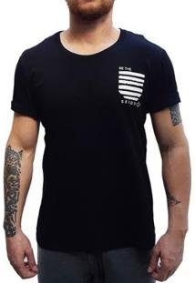 Camiseta Brohood Seeds Bolso Masculina - Masculino-Preto+Bege