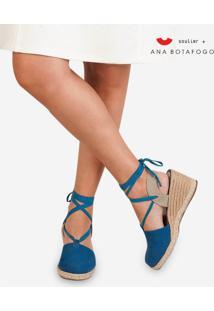 Sandália Soulier Anabela Ana Botafogo Plie De Lona - Azul Azul