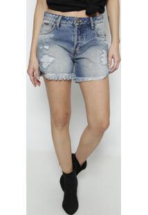 Bermuda Luna Jeans Com Destroyed- Azul- Forumforum