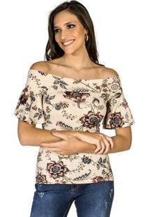 Blusa Estampada New Garden Colcci Feminina - Feminino-Bege