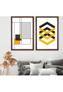 Quadro Com Moldura Chanfrada Abstrato Amarelo Madeira Escura - Grande - Multicolorido - Dafiti