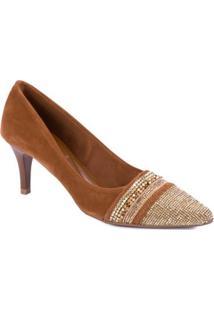 Sapato Di Cristalli O Fino Cstrass Em Dourado Linhaca - Feminino-Marrom