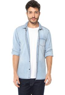 Camisa Jeans Malwee Reta Azul