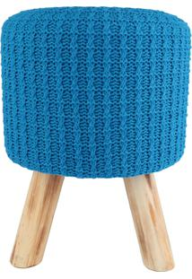 Puff Madeira Algodao Poliester Crochet 3 Feet Azul 30 X 38 X 30 Cm Urban