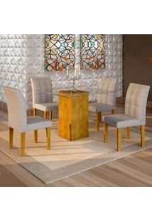 Conjunto De Mesa De Jantar Havana Com 4 Cadeiras Vitória Suede Ypê E Cinza