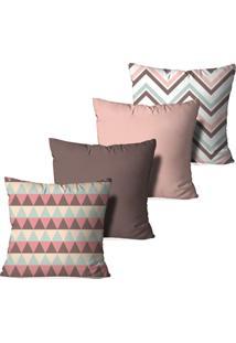 Kit 4 Capas Para Almofadas Decorativas Love Decor Abstrato Multicolorido Rosa