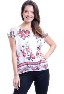 Blusa 101 Resort Wear Cropped Cetim Estampa Floral Branco E Vermelho