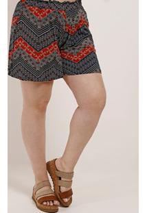 Short De Tecido Plus Size Feminino Autentique Azul Marinho