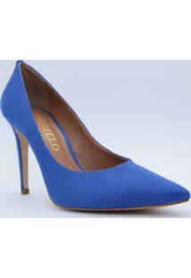 Scarpin Acamurçado- Azul Escuro- Salto: 9,5Cmcecconello