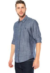 Camisa Jeans Reserva Regular Fit Logo Azul