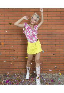 Body Feminino Carnaval Estampado Margarida Com Babado Pink
