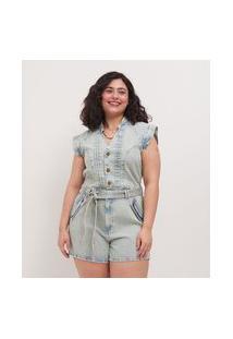 Macacão Curto Em Jeans Delavê Com Pregas Curve & Plus Size | Ashua Curve E Plus Size | Azul | 54