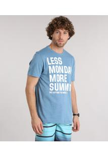 "Camiseta Masculina ""Less Monday More Summer"" Manga Curta Gola Careca Azul Claro"