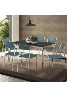 Mesa 1526 Preta Cromada Com 6 Cadeiras 1709 Turquesa Carraro