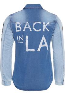 Camisa Masculina Tecido Plano - Azul