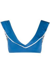 Marysia Ruffle Bikini Top - Azul