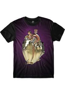 Camiseta Bsc Coração De Máquina Motor Dourado Sublimada Roxo
