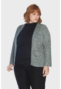 Jaqueta Bouclê Plus Size Passy Feminina - Feminino-Cinza
