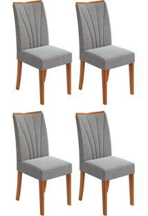 Conjunto Com 4 Cadeiras Apogeu Rovere E Cinza