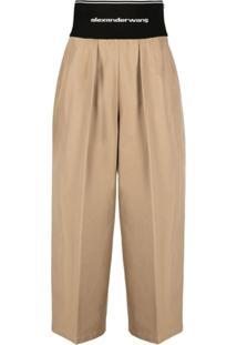 Alexander Wang Calça Pantalona Com Logo No Cós - Marrom