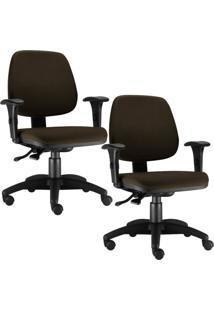 Kit Cadeiras Giratã³Ria Lyam Decor Job Marrom - Marrom - Dafiti