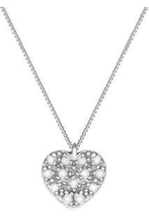 Pingente Coração Ouro Branco E Diamantes 7 Mm