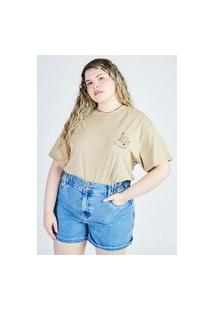 T-Shirt Silk Cristais Caqui Gang Plus Size Feminina