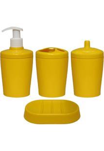 Kit Para Banheiro Ravi 4 Peças Amarelo