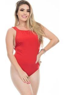 Body Clara Arruda Decote Quadrado Feminino - Feminino-Vermelho