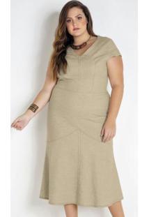 Vestido Midi Linho Plus Size Bege
