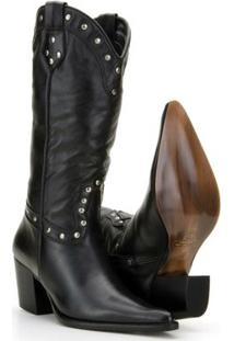 Bota Texana Couro Country Capelli Boots Feminina - Feminino-Preto